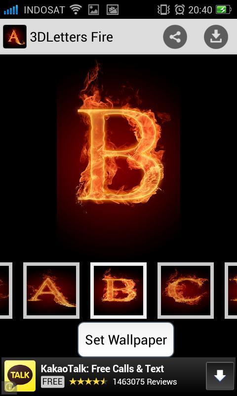 3D Letter Fire Live Wallpaper Apk Screenshot