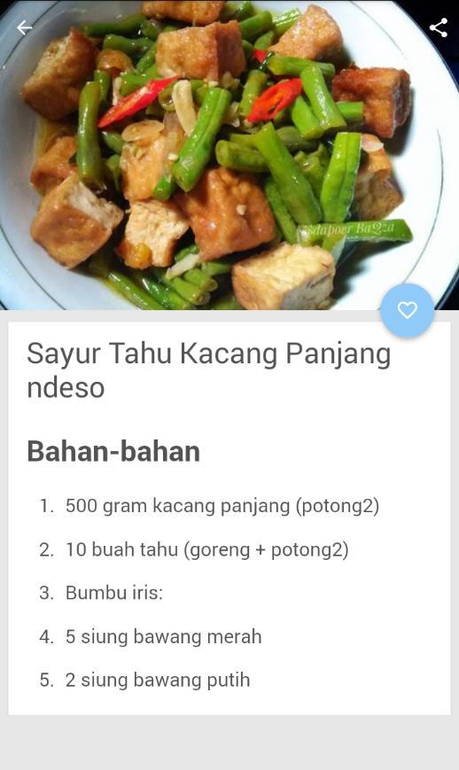 Resep Sayur Kacang Panjang Für Android Apk Herunterladen