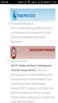 Indian Raiway PNR status screenshot 2