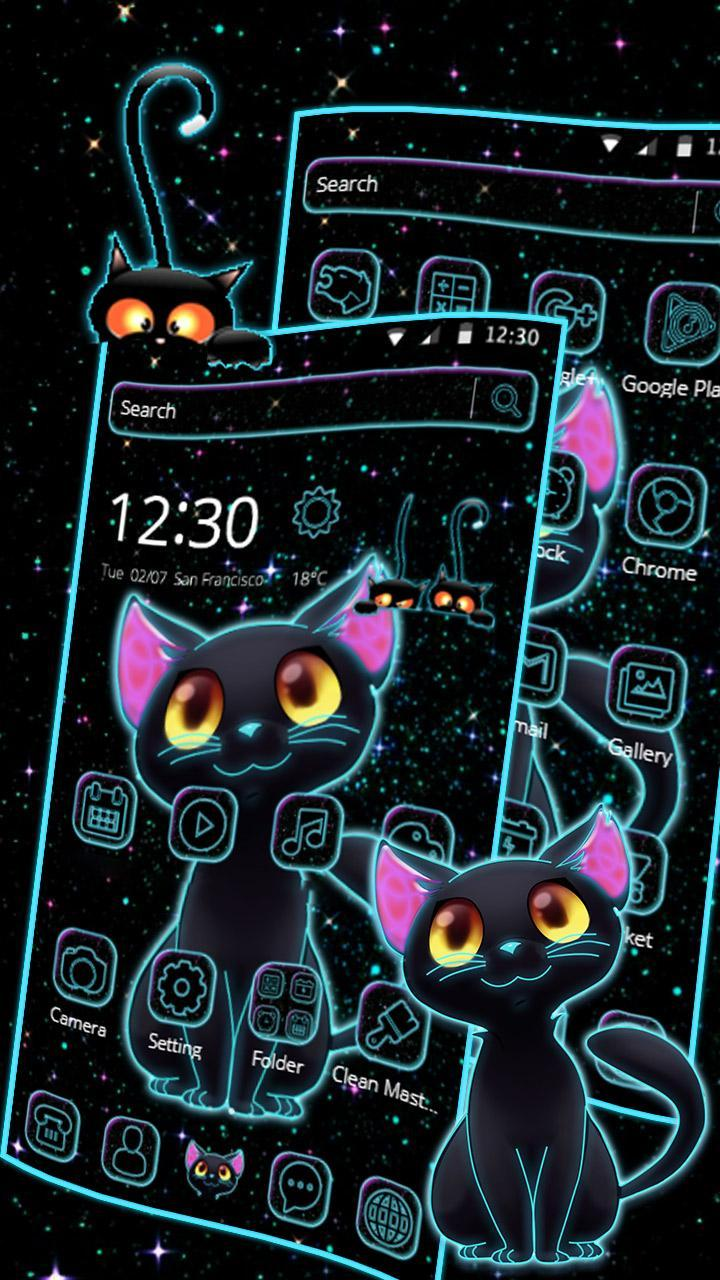 Dark Night Neon Cat Tema For Android Apk Download
