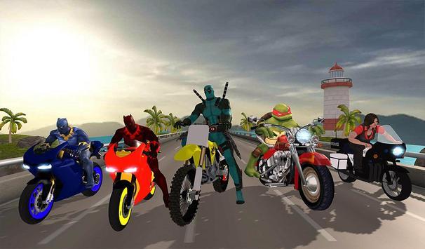 Superhero Cop Car & Bike Stunt Racing screenshot 14