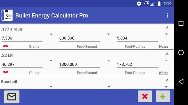 Bullet Energy Calculator Pro Screenshot 2