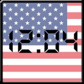 Flag LCD Clock Widget USA icon