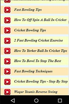 Cricket Bowling Tips Live Videos apk screenshot