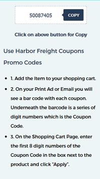 Discount Coupons for Harbor Freight screenshot 2