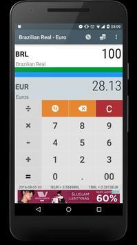 Brazilian Real BRL to Euro EUR poster