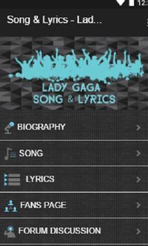 Song & Lyric - Lady Gaga screenshot 1