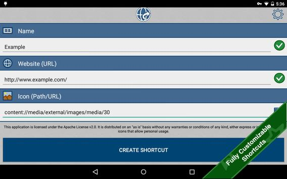 android how to create shortcut to website