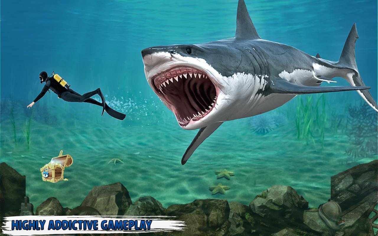 Sea shark simulator fish games apk download free for Shark fishing games