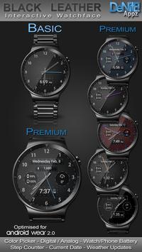 Black Leather HD WatchFace Widget & Live Wallpaper poster