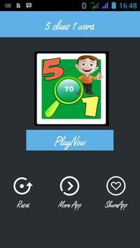 5 Clue 1 Word - DeStar Games screenshot 1