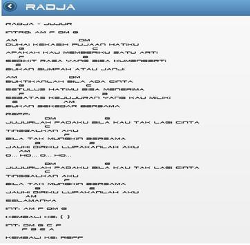 Lirik Lagu Radja apk screenshot