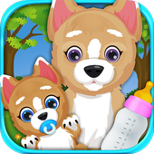 Newborn Baby Puppy & Mommy Dog Virtual Pet Animals icon
