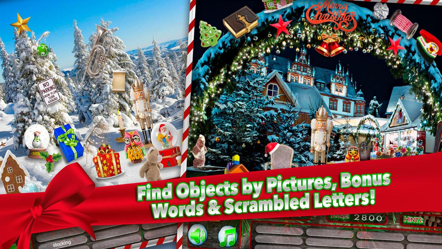 Hidden Object White Christmas Holiday Puzzle Game Apk Screenshot