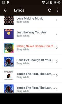 Barry White Music Lyrics v1 apk screenshot