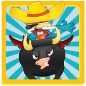 Raging bull cowboy icon
