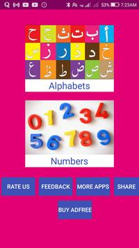 Learn Urdu Alphabets and Numbers poster