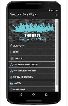 Yung Lean Song & Lyrics screenshot 1