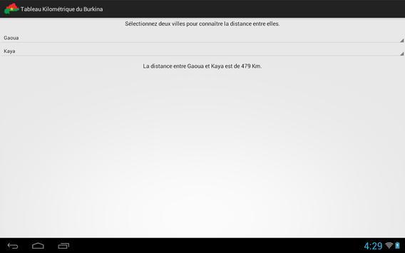 Tableau Kilométrique Burkina apk screenshot