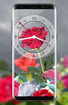 Rose Analog Clock 3D: Rain Drop Live Wallpaper HD poster