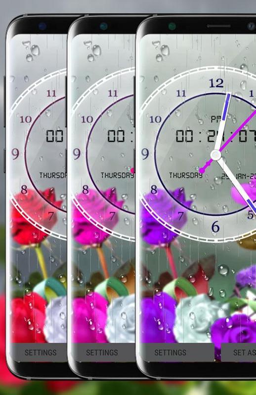 ... Rose Analog Clock 3D: Rain Drop Live Wallpaper HD screenshot 2 ...