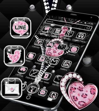 Diamond Leopard Theme Zipper Lock Screen poster