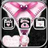 Pink Leopard Diamond Zipper Theme icon