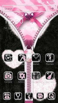 Pink Leopard Diamond Zipper Theme apk screenshot