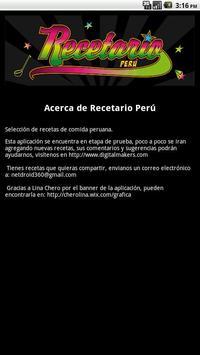 Recetario de comida peruana apk screenshot