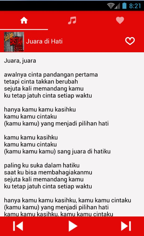 Lirik Lagu Bastian Steel Cjr For Android Apk Download
