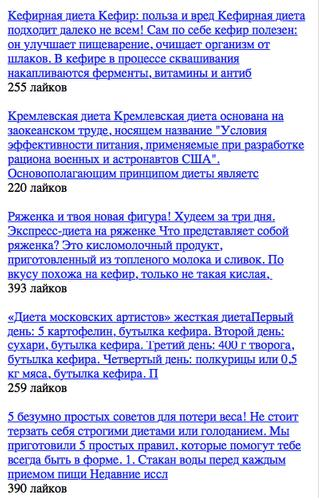 Кремлёвская диета таблица баллов.