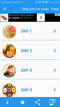 Diet plan for male - Fitness, Calories Control screenshot 1