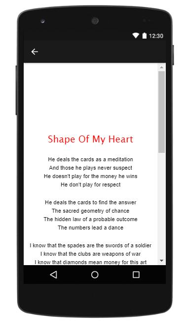 Sting || Shape Of My Heart - New Music Lyric for Android