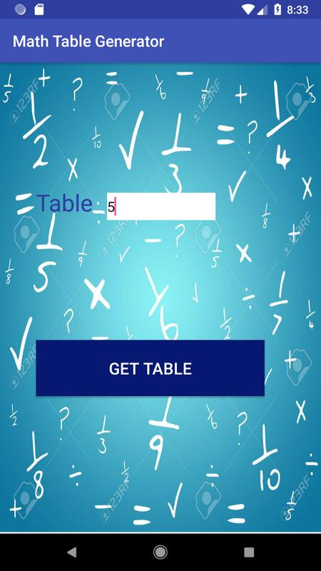 Math Table Generator for Android - APK Download