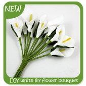 DIY white lily flower bouquet icon