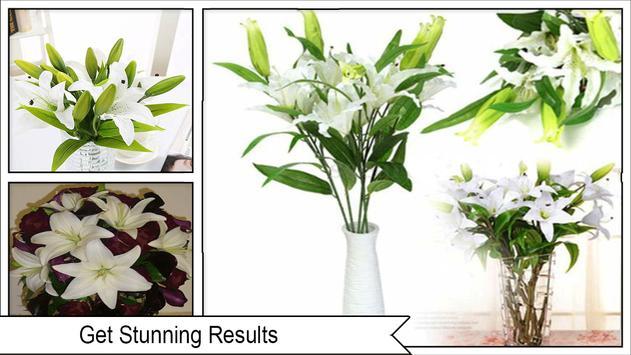 DIY white lily flower bouquet screenshot 3