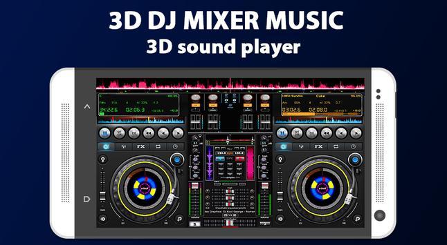 3D DJ Mixer Music Poster