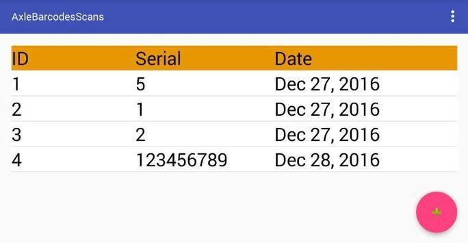 Axle Barcode Scans screenshot 1