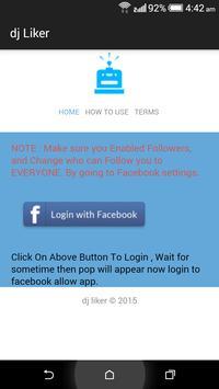 dj liker - free facebook likes poster