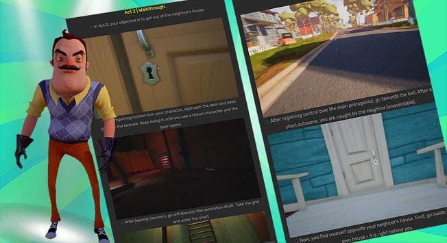 Guide Of Hello Neighbor act 1,2,3,4 screenshot 1