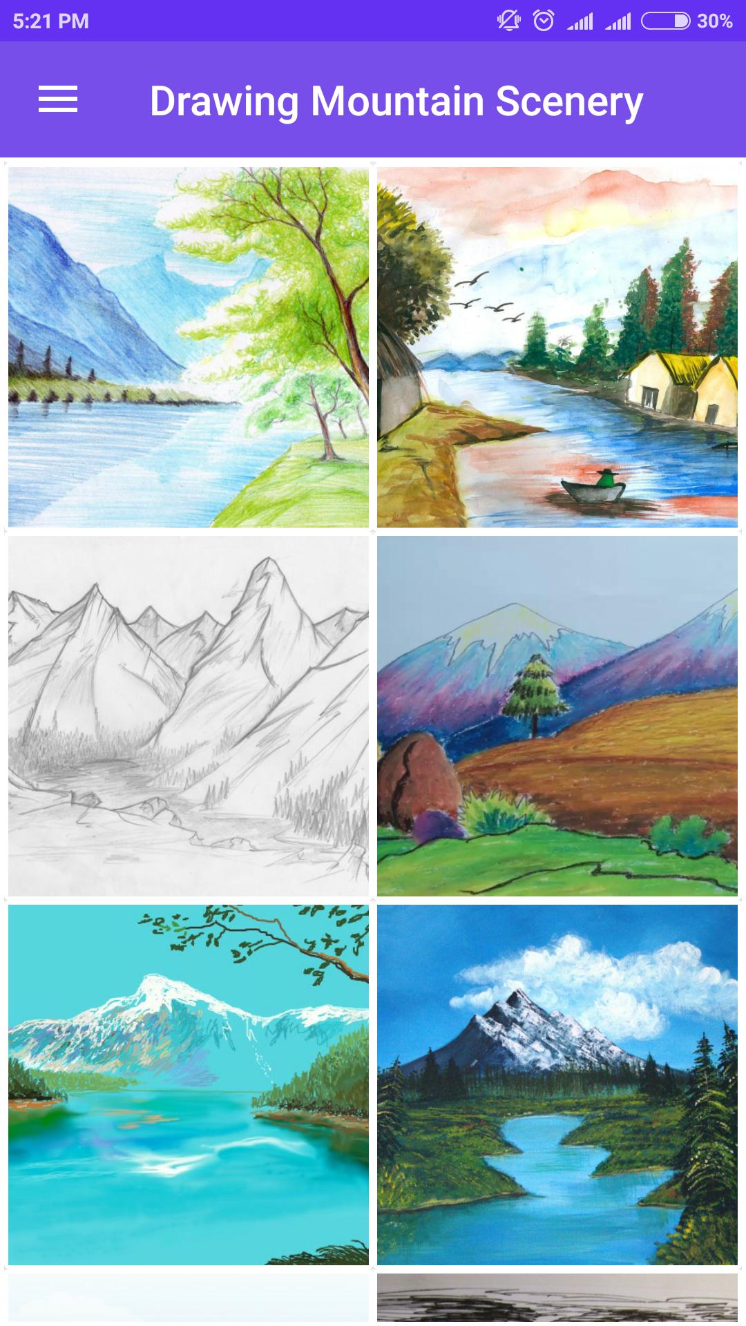 Easy Drawing Mountain Scenery For Android Apk Download