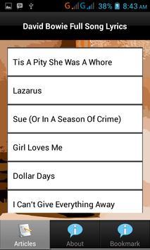 All Lyrics of David Bowie apk screenshot