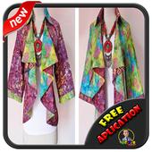 Batik shirt design office lady icon