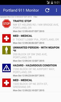 Portland 911 Incidents Monitor poster