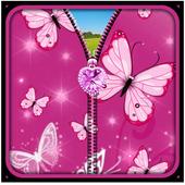 Pink Butterfly Zipper UnLock icon
