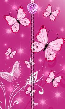 Pink Butterfly Zipper UnLock poster