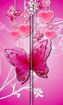 Pink Butterfly Zipper UnLock apk screenshot
