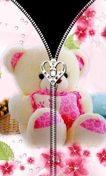 Pink Teddy Bear Zipper UnLock apk screenshot