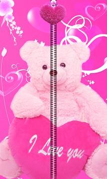Pink Teddy Bear Zipper UnLock poster