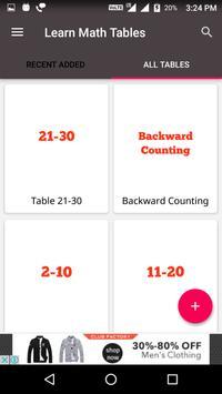 Learn Math Tables screenshot 2